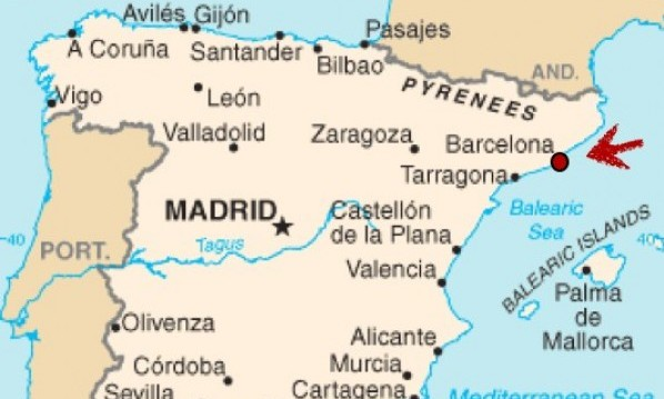 Barcelona Location in Spain Map