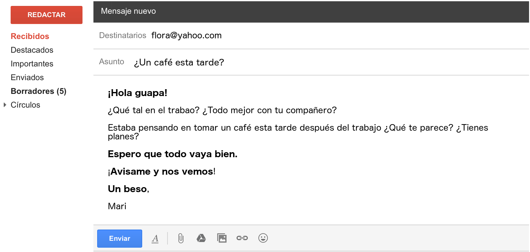 letter email in spanish informal example