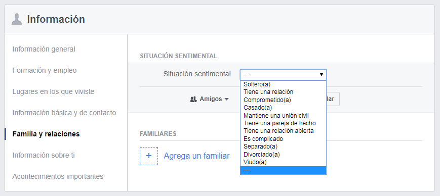 Facebook relationship status in spanish
